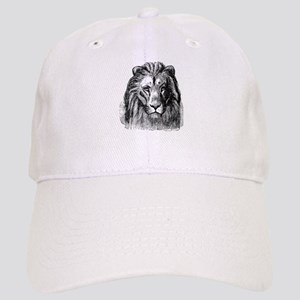 Vintage Lion Head Lions Black White Cap