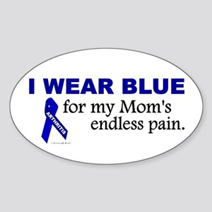 I Wear Blue For My Mom's Pain Oval Sticker