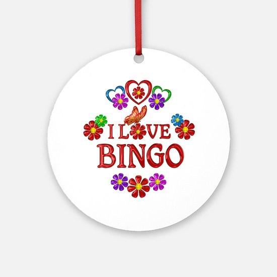 I Love Bingo Round Ornament