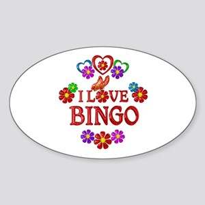 I Love Bingo Sticker (Oval)