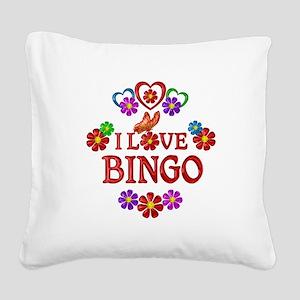 I Love Bingo Square Canvas Pillow