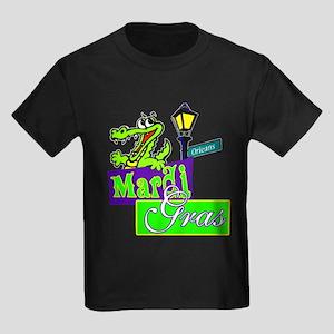 Gator at Mardi Gras  Kids Dark T-Shirt