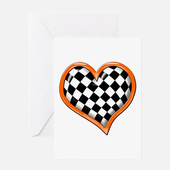 Orange Race Heart Greeting Card