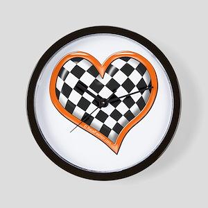 Orange Race Heart Wall Clock