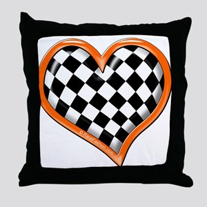 Orange Race Heart Throw Pillow