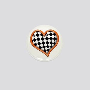 Orange Race Heart Mini Button