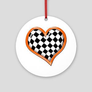 Orange Race Heart Ornament (Round)