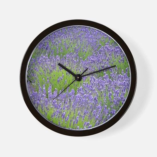 Purple lavender field Wall Clock