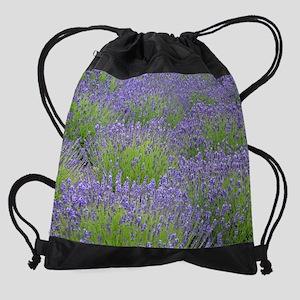 Purple lavender field Drawstring Bag