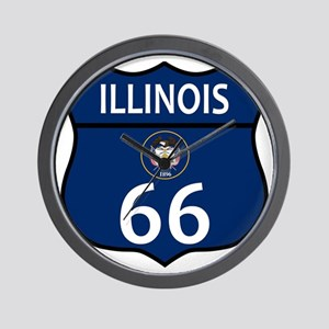Route 66 Illinois Sign and Flag Wall Clock
