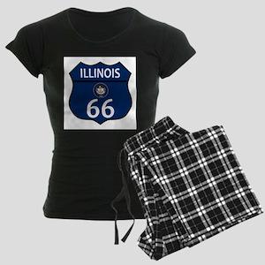 Route 66 Illinois Sign and F Women's Dark Pajamas