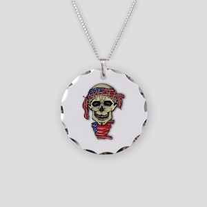 American Skull Necklace Circle Charm