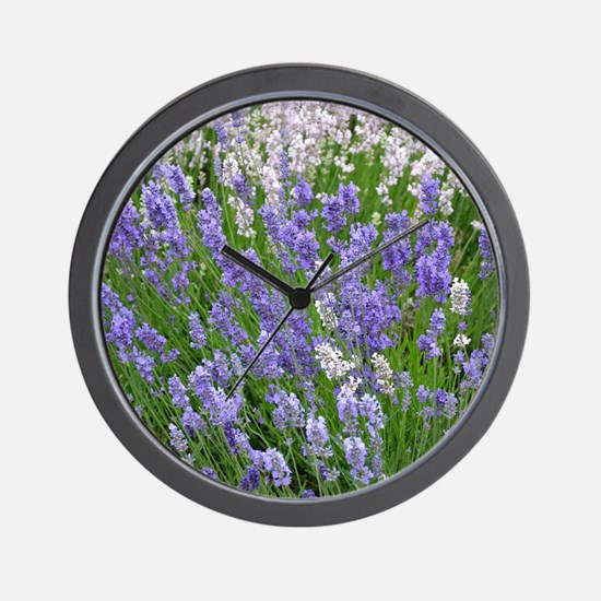 Pink and purple lavender field Wall Clock