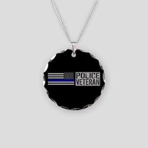 Police: Police Veteran (Blac Necklace Circle Charm