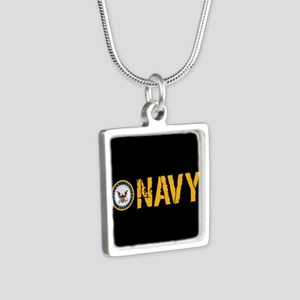 U.S. Navy: Navy (Black) Silver Square Necklace