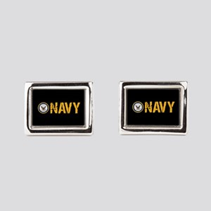 U.S. Navy: Navy (Black) Rectangular Cufflinks