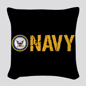 U.S. Navy: Navy (Black) Woven Throw Pillow