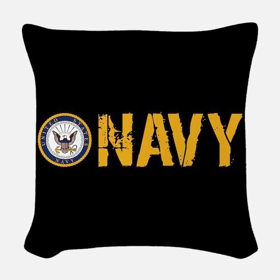 U.S. Navy: Navy (Black) Woven Throw Pillow
