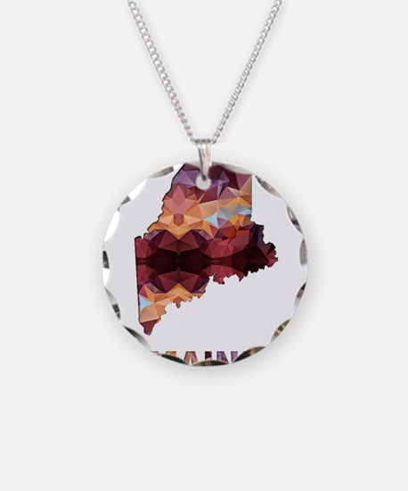 Mosaic Map MAINE Necklace