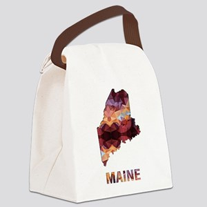 Mosaic Map MAINE Canvas Lunch Bag