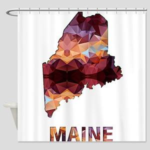 Mosaic Map MAINE Shower Curtain