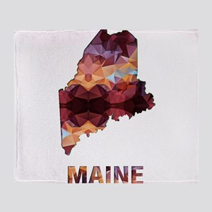 Mosaic Map MAINE Throw Blanket