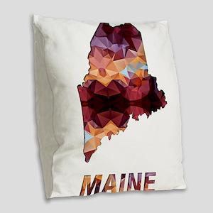 Mosaic Map MAINE Burlap Throw Pillow
