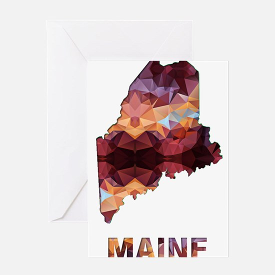 Mosaic Map MAINE Greeting Cards