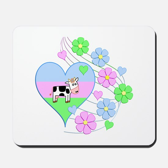 Fun Cow Heart Mousepad