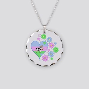 Fun Cow Heart Necklace Circle Charm