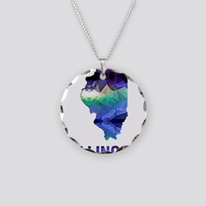 Mosaic Map ILLINOIS Necklace Circle Charm