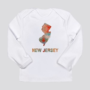 Mosaic Map NEW JERSEY Long Sleeve T-Shirt