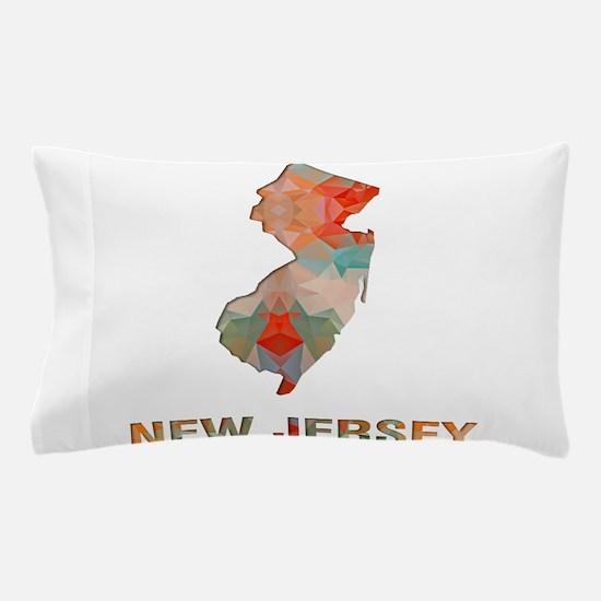 Mosaic Map NEW JERSEY Pillow Case