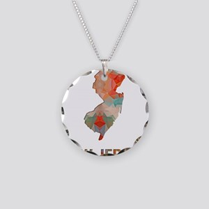 Mosaic Map NEW JERSEY Necklace Circle Charm