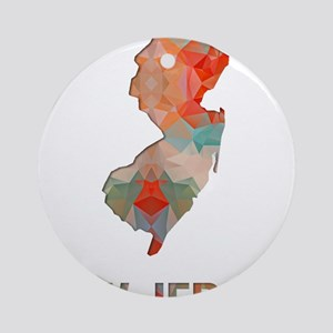 Mosaic Map NEW JERSEY Round Ornament