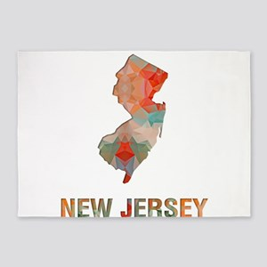 Mosaic Map NEW JERSEY 5'x7'Area Rug
