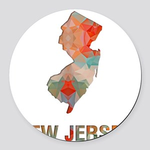 Mosaic Map NEW JERSEY Round Car Magnet