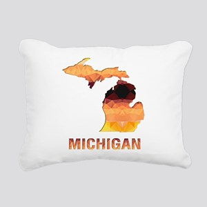 Mosaic Map MICHIGAN Rectangular Canvas Pillow