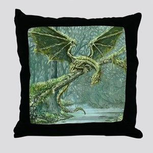 Grassy Earth Dragon Throw Pillow