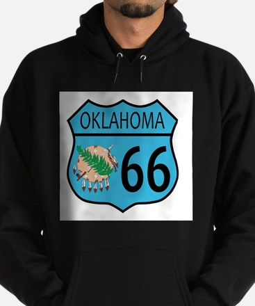Route 66 Oklahoma sign and Flag Hoodie (dark)