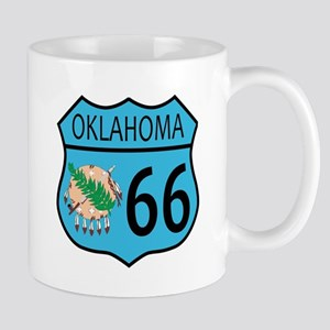 Route 66 Oklahoma sign and Flag Mugs