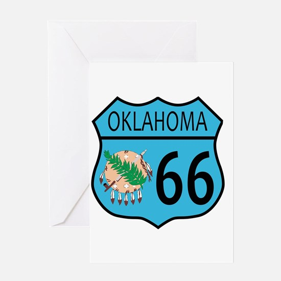 Route 66 Oklahoma sign and Flag Greeting Cards