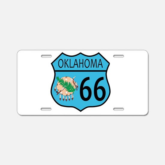 Route 66 Oklahoma sign and Aluminum License Plate