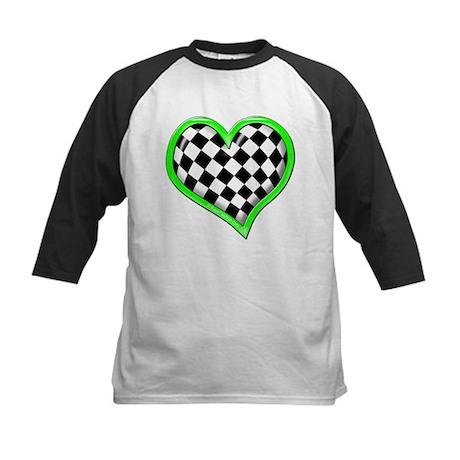 Green Racing Heart Kids Baseball Jersey