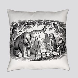 Vintage Owl Elephant Giraffe Monke Everyday Pillow