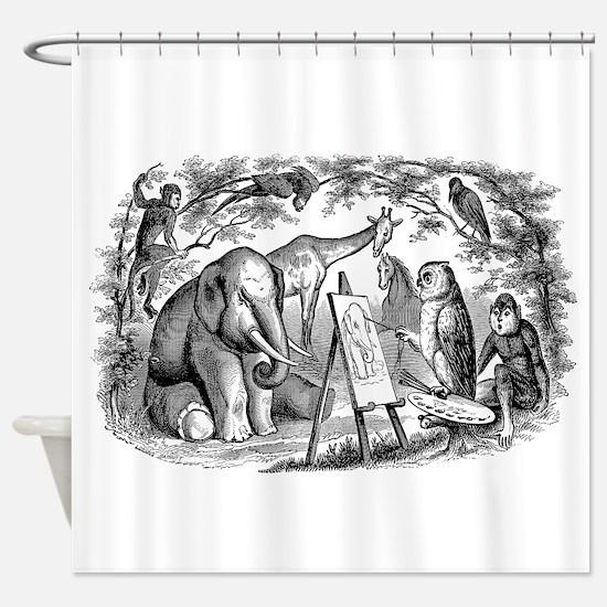 Vintage Owl Elephant Giraffe Monkey Shower Curtain