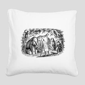 Vintage Owl Elephant Giraffe Square Canvas Pillow