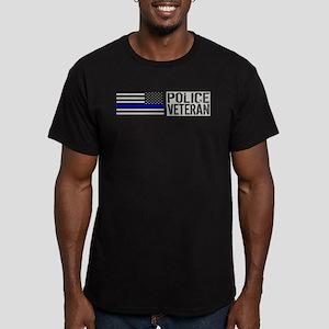 Police: Police Veteran (Black Flag Blue Line) T-Sh