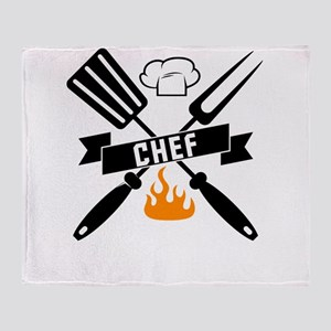 Barbeque BBQ Chef Throw Blanket