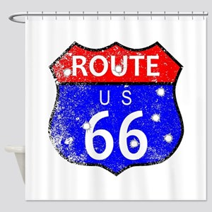 Route 66 Bullet Holes Shower Curtain